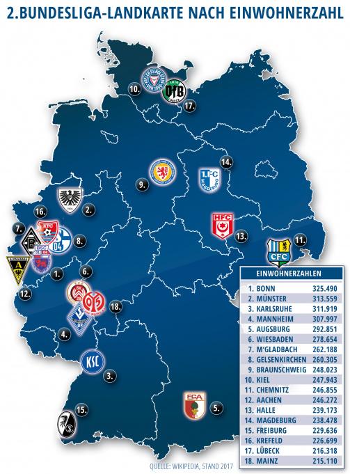 2.Bundesliga-Landkarte nach Einwohnerzahl