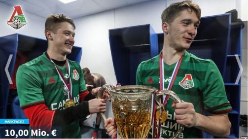 © imago / Aleksey (l.) und Anton Miranchuk feiern den Titel mit Lokomotiv Moskau: Nun stehen beide in Russland WM-Kader. Die Galerie