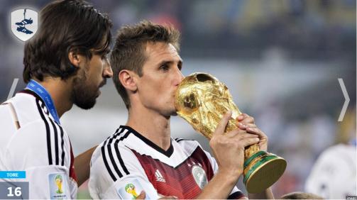 © imago / Miroslav Klose ist der erfolgreichste deutsche WM-Torschütze der Historie, Thomas Müller liegt aktuell noch auf Platz 4