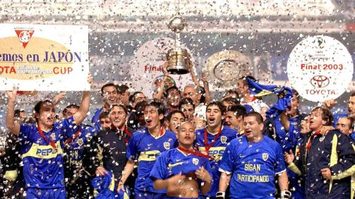 Boca Juniors celebrating their 2003 Copa Libertadores victory