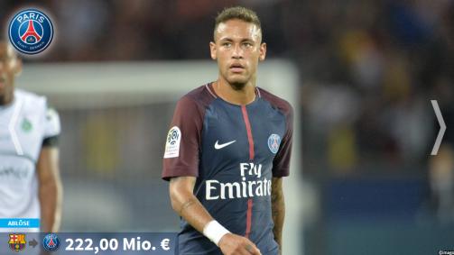 Neymar an der Spitze: Die Transferrekorde in der Galerieorde in der Galerie