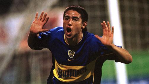 Juan Román Riquelme celebrates a goal in 2000