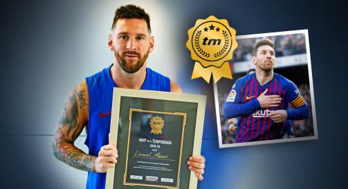 © Transfermarkt: Von den Transfermarkt-Usern gewählt: Lionel Messi mit der Urkunde zum Spieler der Saison 2018/19