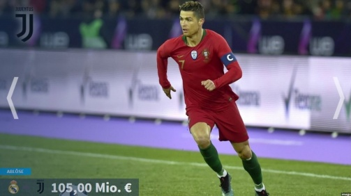 Ronaldo zweimal in den Top-10: Die Statistik der Transferrekorde als TM-Galerie