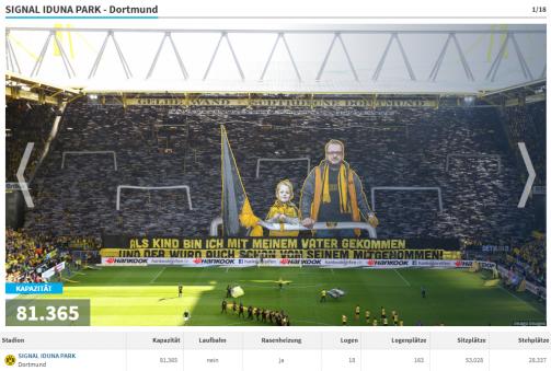Im Detail: Die 18 Bundesliga-Stadien mit Aufteilung nach Platzkategorien.