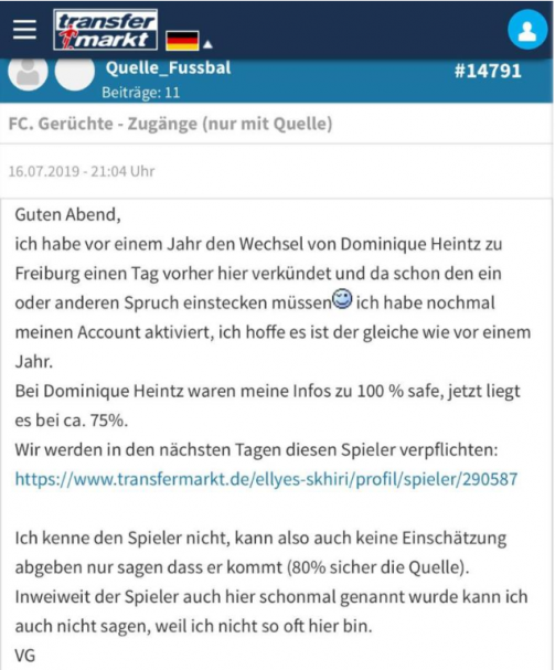 """With this post, TM user"""" Quelle_Fusbal """"announced the transfer"""