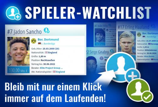 © Transfermarkt - Bleib bei deinen Lieblingsspielern immer auf dem Laufenden: Mit der Watchlist!