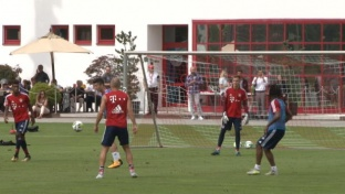 FCB-Training: Lewandowski & Co. in Torlaune