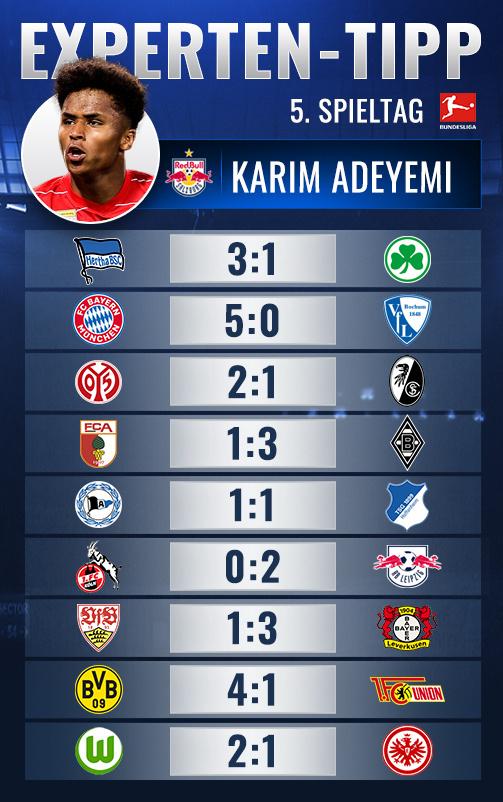 Jetzt gegen Adeyemi den 5. Bundesliga-Spieltag tippen!