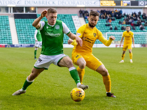 Keaghan (right) in action for Livingston in the Scottish Premiership