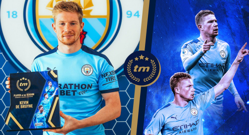 Kevin De Bruyne with his Transfermarkt Player of the Season award