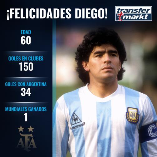Diego Maradona cumple 60 años.