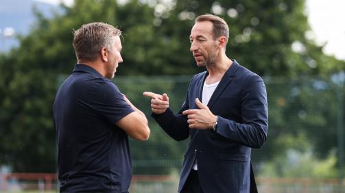 Stets im Austausch: Ortlechner (r.) mit Austria-Trainer Schmid