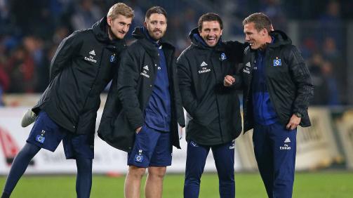 Oktober 2018: HSV-Torwarttrainer Nico Stremlau mit den Assistenzcoaches André Kilian und Maik Goebbels sowie Cheftrainer Hannes Wolf (v.l.n.r.)