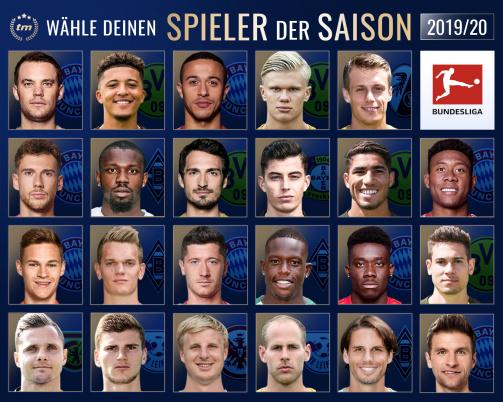 Zur Abstimmung: Wer war der beste Bundesliga-Spieler der Saison 2019/20?