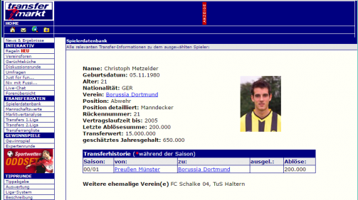 Transfermarkt screenshot from the year 2002