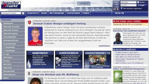 This is what Transfermarkt looked like in 2010