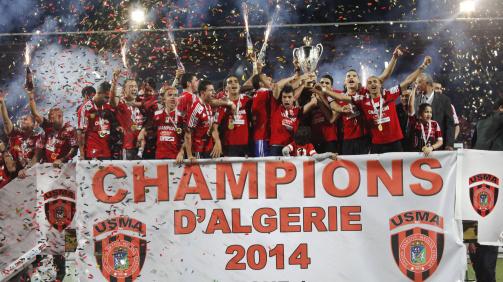 Der USM Algier feiert die Meisterschaft 2014.
