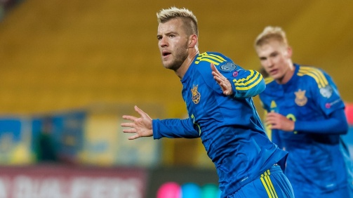 West Ham's Andriy Yarmolenko in the shirt of the Ukranian national team